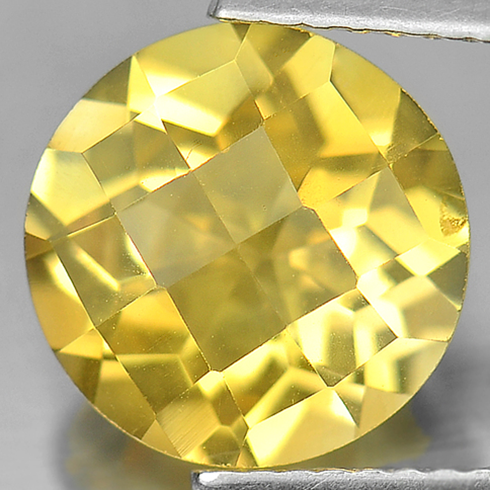 3.14 Ct. Round Checkerboard Natural Gemstone Yellow Citrine Unheated From Brazil