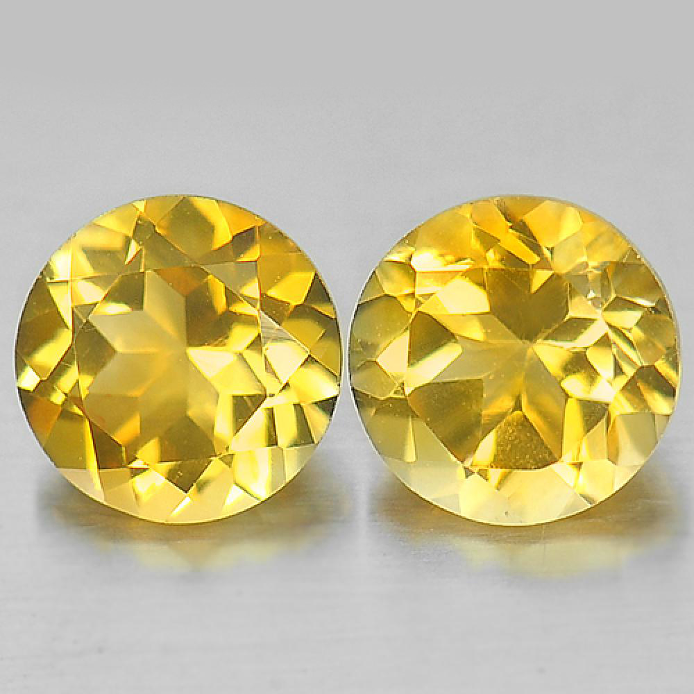 2.48 Ct. 2 Pcs. Round Shape Natural Gemstone Yellow Citrine Unheated From Brazil