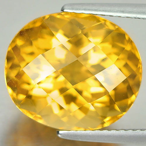 10.20 Ct. Dazzling Oval Checkerboard Natural Yellow Citrine Gem Brazil