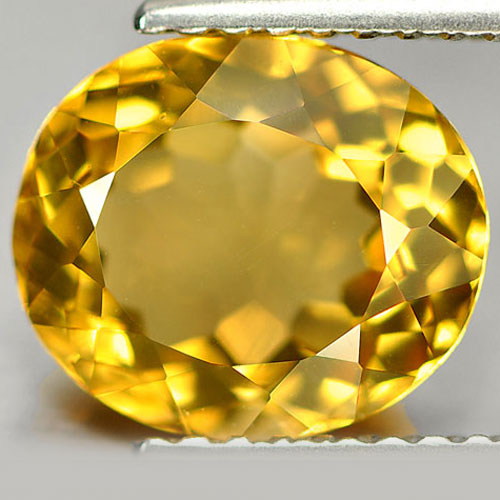 2.12 Ct. Unheated Oval Shape Natural Yellow Citrine Gemstone From Brazil