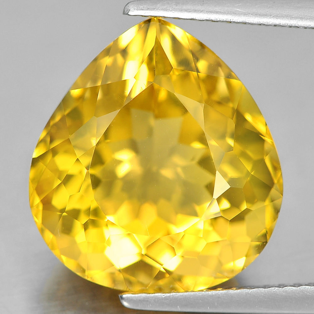 10.53 Ct. Intense Pear Shape Natural Yellow Citrine Gemstone Brazil