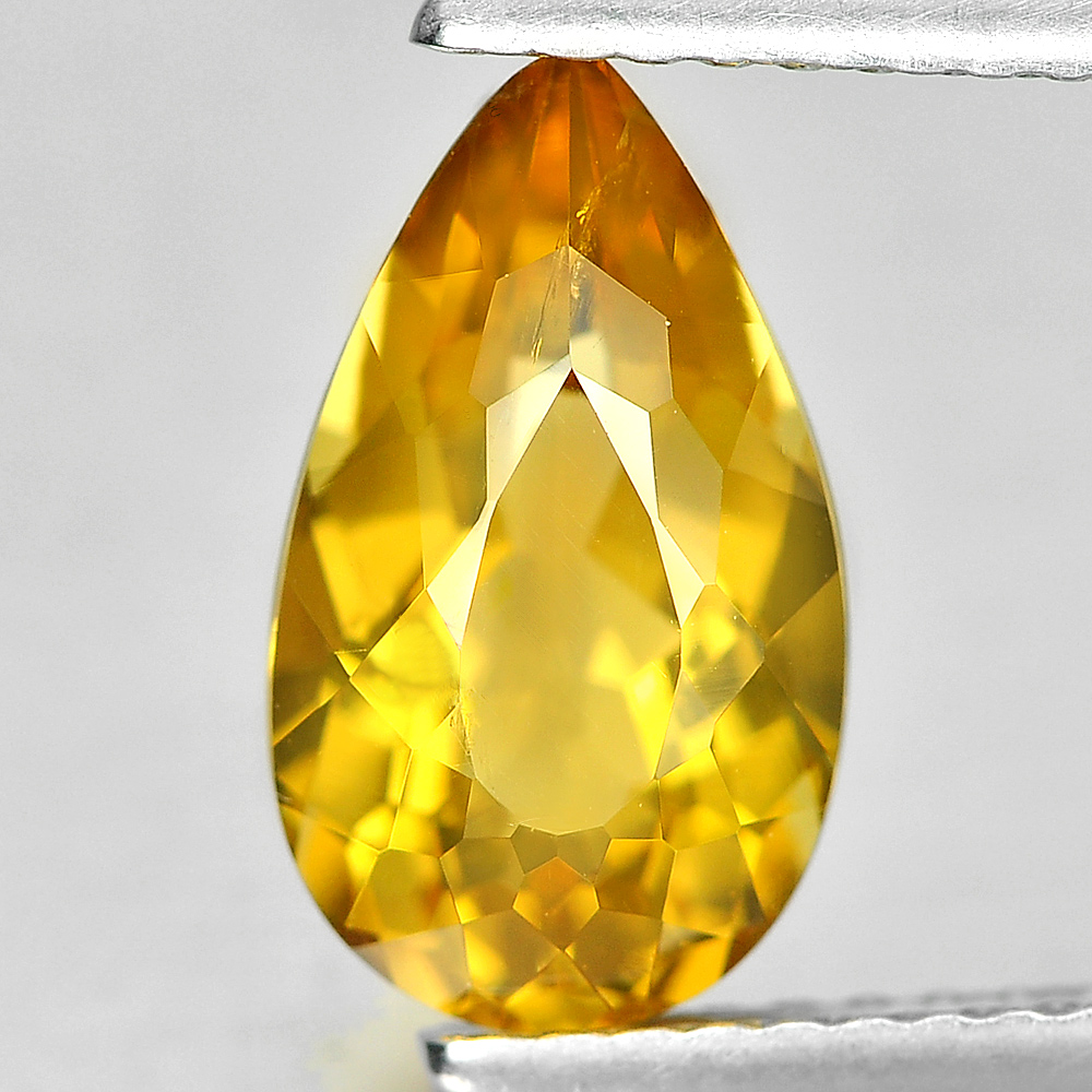 1.97 Ct. Unheated Pear Shape Natural Yellow Citrine Gemstone Brazil