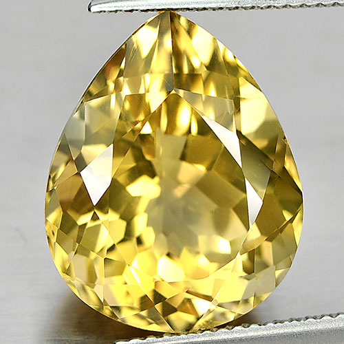 11.72 Ct. Good Natural Yellow Citrine Gemstone Pear Shape Brazil Unheated