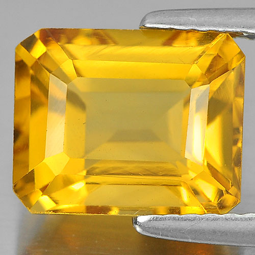3.35 Ct. Octagon Shape 10 x 8 Mm Natural Yellow Citrine From Brazil Unheated