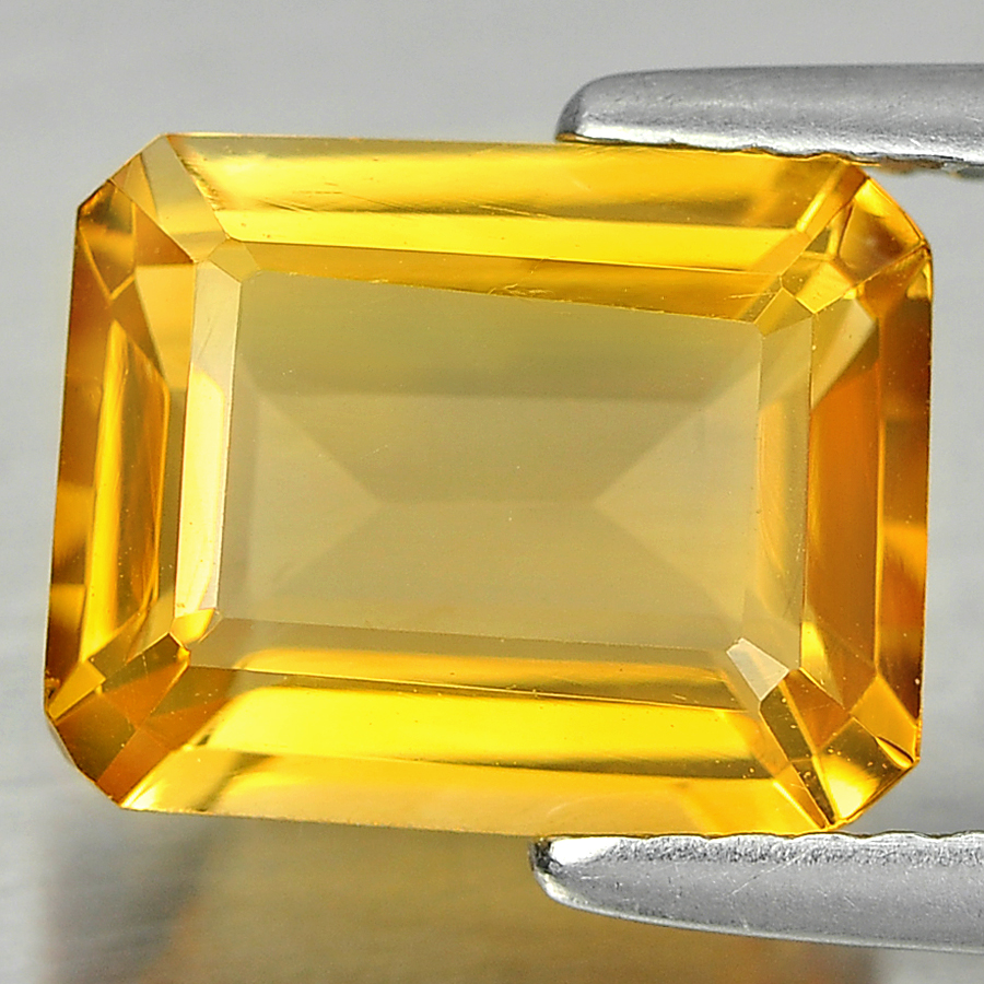 2.75 Ct. Octagon Shape 10 x 8  Mm. Natural Gemstones Yellow Citrine Unheated