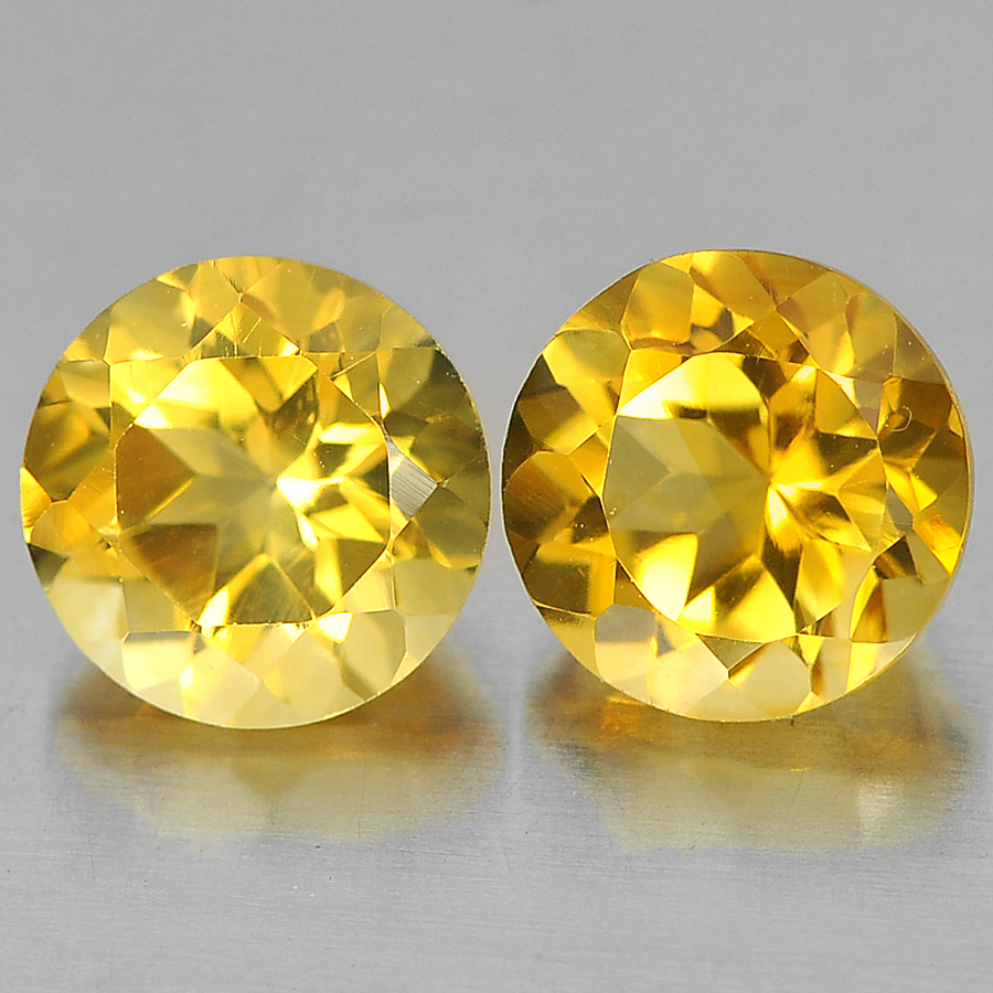 2.65 Ct. 2 Pcs. Alluring Round Shape Gems Natural Yellow Citrine Unheated
