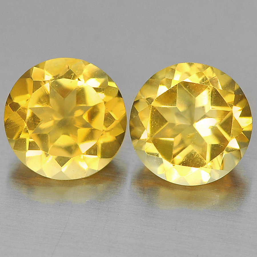 2.40 Ct. 2 Pcs. Lovely Round Shape Gems Natural Yellow Citrine Unheated