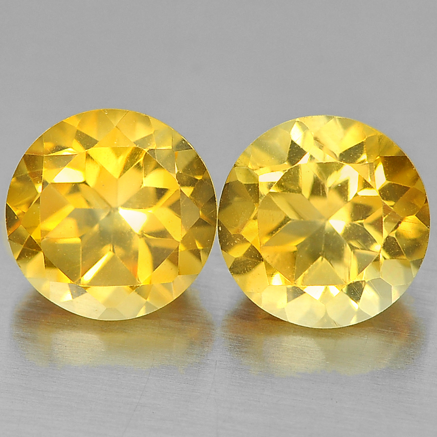Unheated 2.69 Ct. 2 Pcs. Alluring Round Shape Natural Yellow Citrine From Brazil