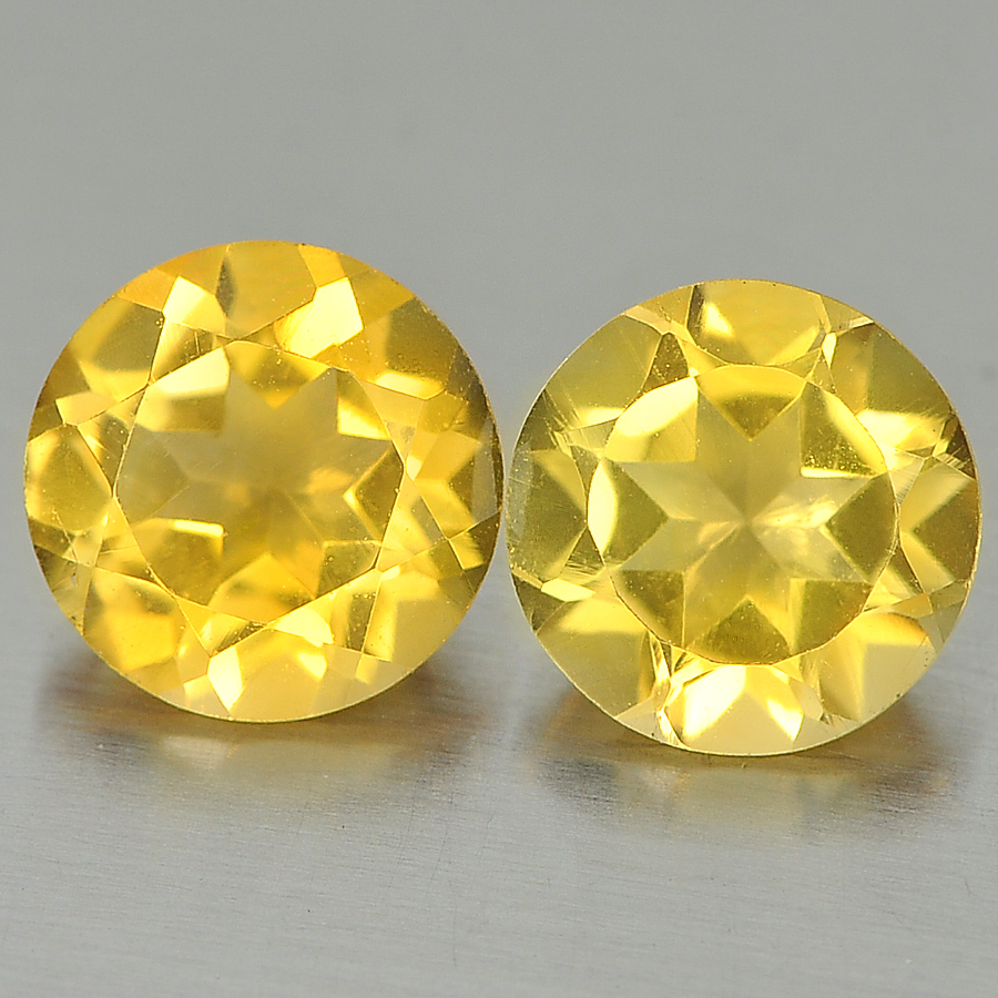 Unheated 2.15 Ct. 2 Pcs. Good Round Shape Natural Yellow Citrine From Brazil