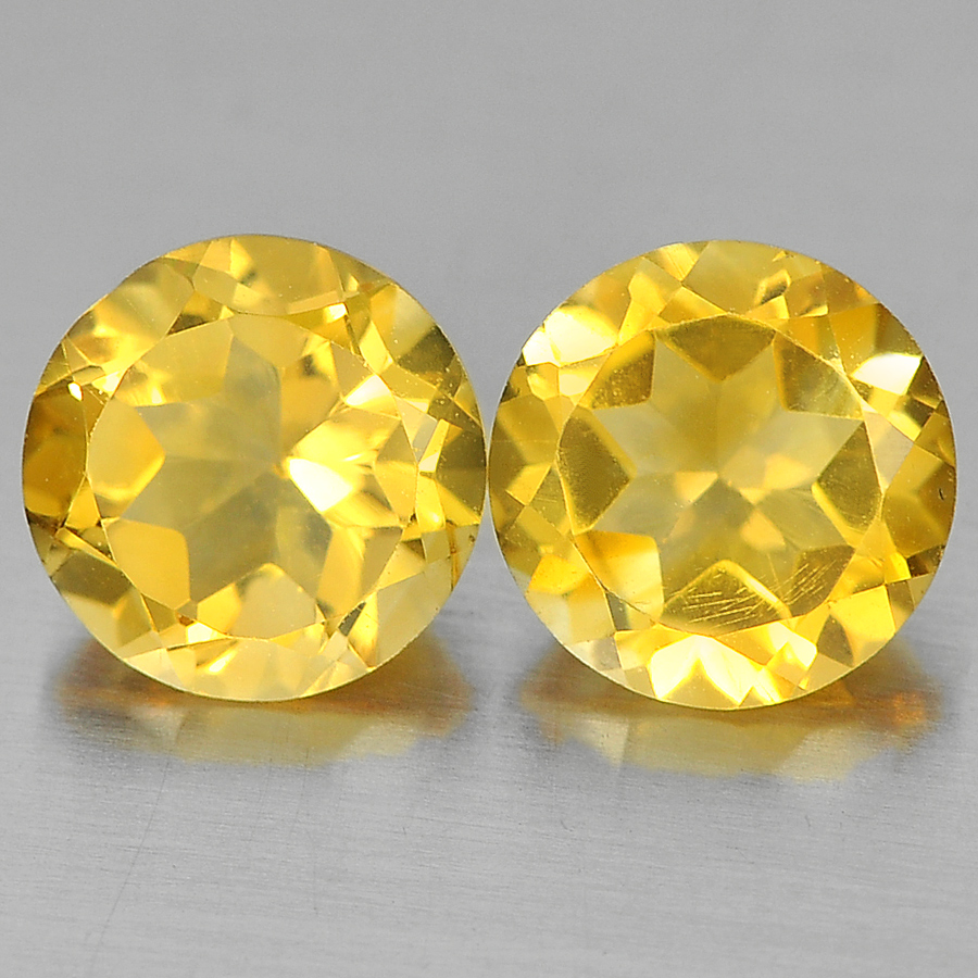 Unheated 2.39 Ct. 2 Pcs. Round Shape Natural Yellow Citrine From Brazil