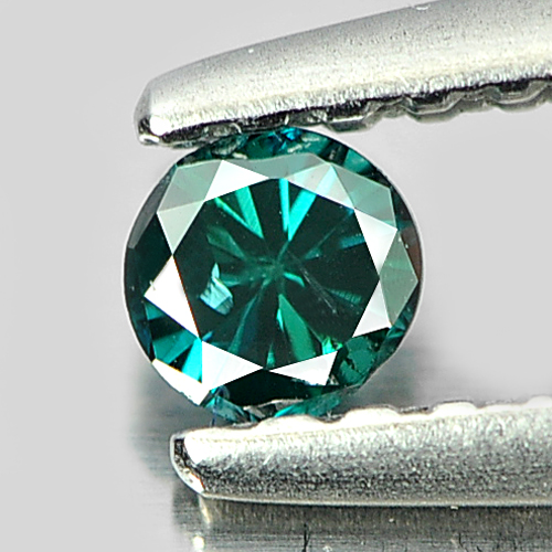 0.10 Ct. 2.9 Mm. Round Natural Green Blue Loose Diamond