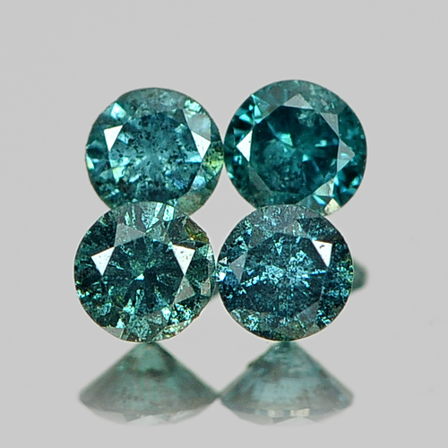 0.27 Ct. 4 Pcs. Natural Blue Loose Diamond Round Brilliant Cut 2.6 Mm
