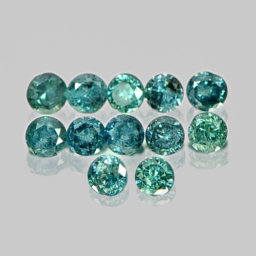 0.13 Ct. 12 Pcs. Scintillate Natural Blue Loose Diamond Round Brilliant Cut