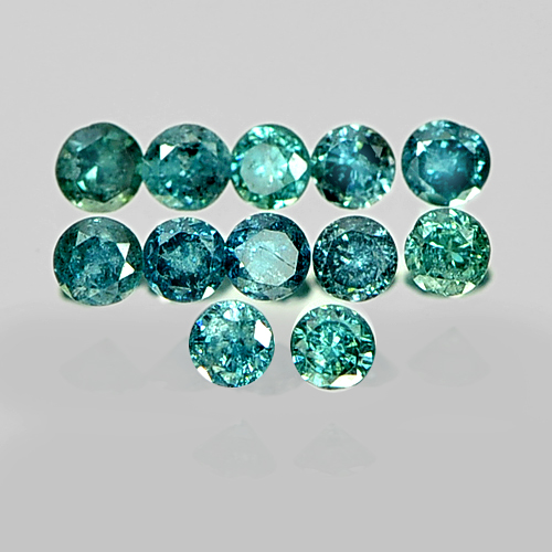 0.18 Ct. 12 Pcs. Natural Blue Loose Diamond Round Brilliant Cut 1.5 Mm.