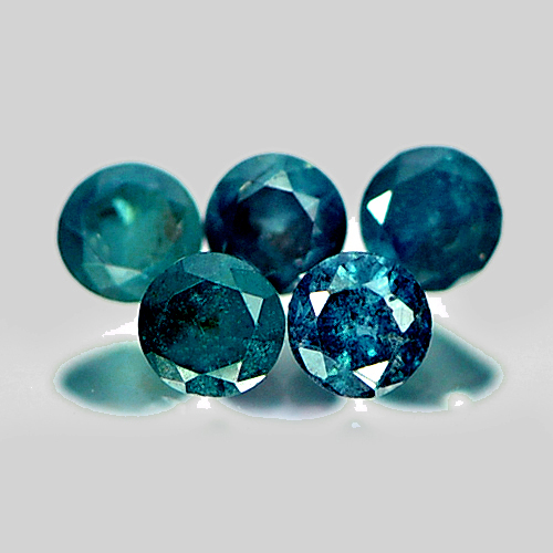 0.12 Ct. 5 Pcs. Beautiful Round Brilliant Cut Natural Green Blue Loose Diamond