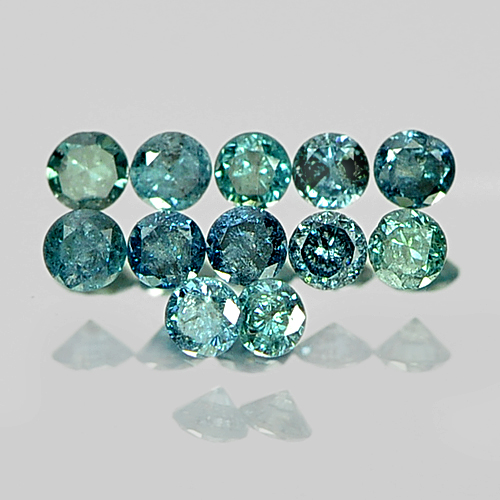 0.15 Ct. 12 Pcs. Round Brilliant Cut 1.4 Mm Natural Greenish Blue Loose Diamond
