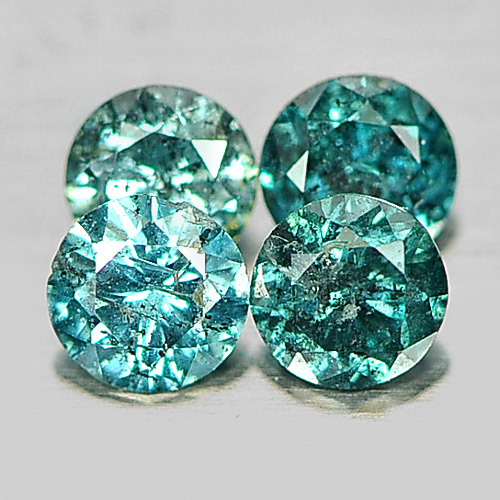 0.26 Ct. 4 Pcs. Round Brilliant Cut Natural Blue Loose Diamond From Belgium
