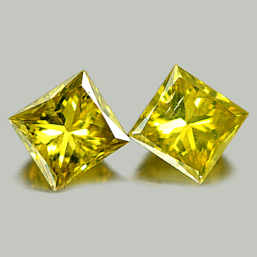 0.30 Ct. 2 Pcs. Attractive Natural Yellow Loose Diamond Baguette Princess Cut