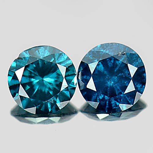 0.27 Ct. 2 Pcs. Round Brilliant Cut Natural Blue Loose Diamond Sz 3.3 Mm.