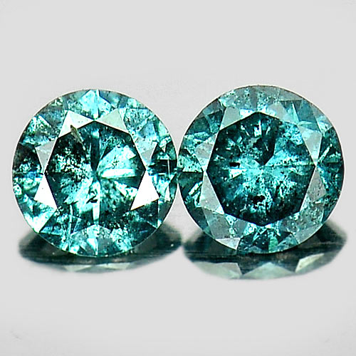 0.20 Ct. 2 Pcs. Good Round Brilliant Cut Natural Blue Loose Diamond Belgium