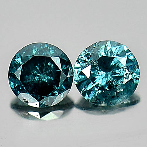 0.20 Ct. 2 Pcs. Attractive Natural Blue Loose Diamond Round Brilliant Cut