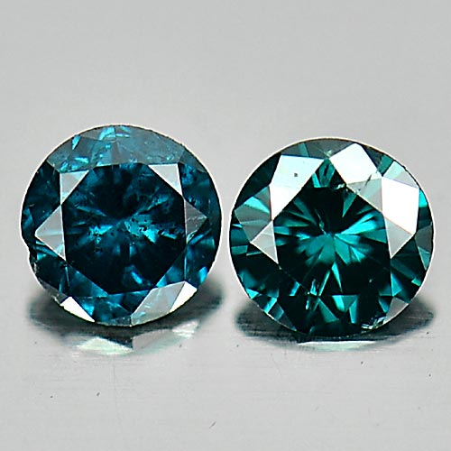 0.17 Ct. 2 Pcs. Round Brilliant Cut Natural Blue Loose Diamond Sz 2.7 Mm.