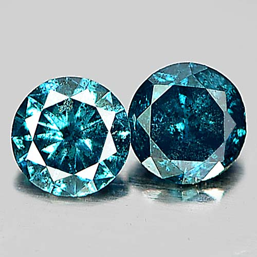 0.16 Ct. 2 Pcs. Alluring Round Brilliant Cut Natural Blue Loose Diamond Belgium
