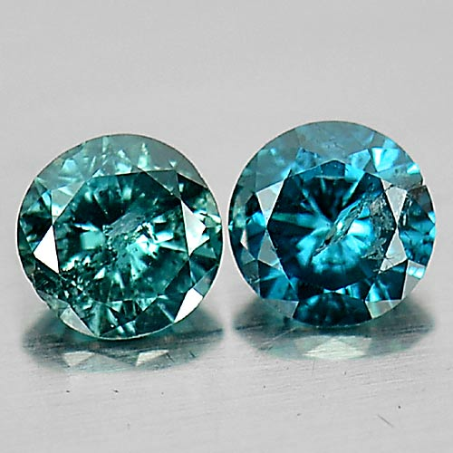 0.16 Ct. 2 Pcs. Good Round Brilliant Cut Natural Blue Loose Diamond