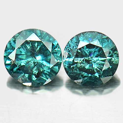 0.16 Ct. 2 Pcs. Nice Round Brilliant Cut Natural Blue Loose Diamond
