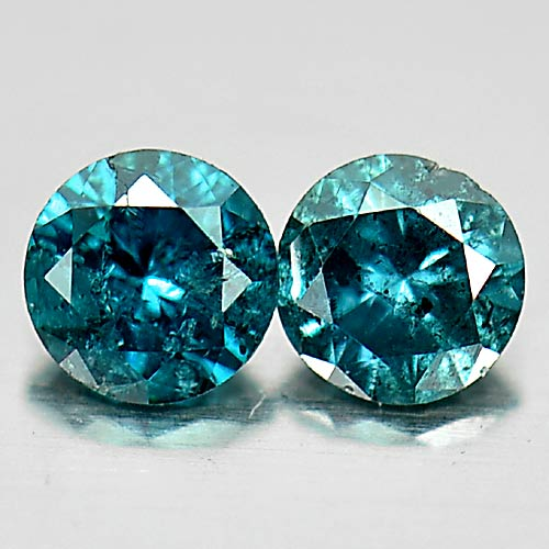 0.16 Ct. 2 Pcs. Delightful Round Brilliant Cut Natural Blue Loose Diamond