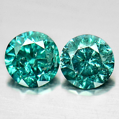0.16 Ct. 2 Pcs. Alluring Round Brilliant Cut Natural Blue Loose Diamond