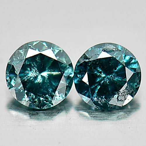 0.16 Ct. 2 Pcs. Charming Round Brilliant Cut Natural Blue Loose Diamond