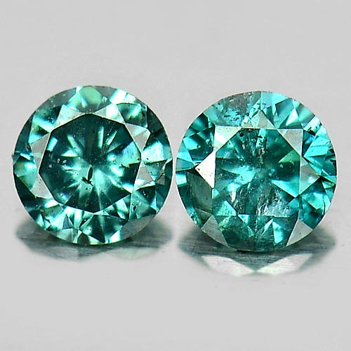 0.13 Ct. 2 Pcs. Round Brilliant Cut Natural Blue Loose Diamond Sz 2.6 Mm.