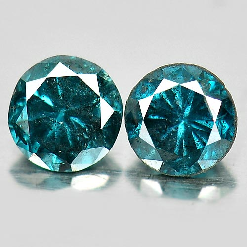 0.17 Ct. 2 Pcs. Round Brilliant Cut 2.7 Mm. Natural Blue Loose Diamond Belgium