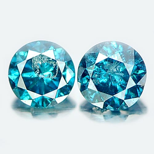 0.17 Ct. 2 Pcs. Round Brilliant Cut Natural Blue Loose Diamond Belgium