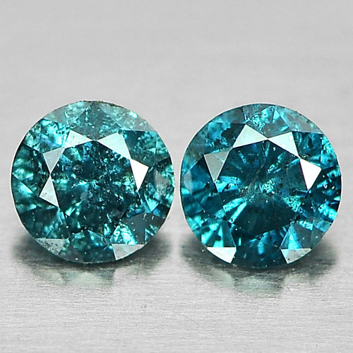 0.15 Ct. 2 Pcs. Alluring Round Brilliant Cut Natural Blue Loose Diamond