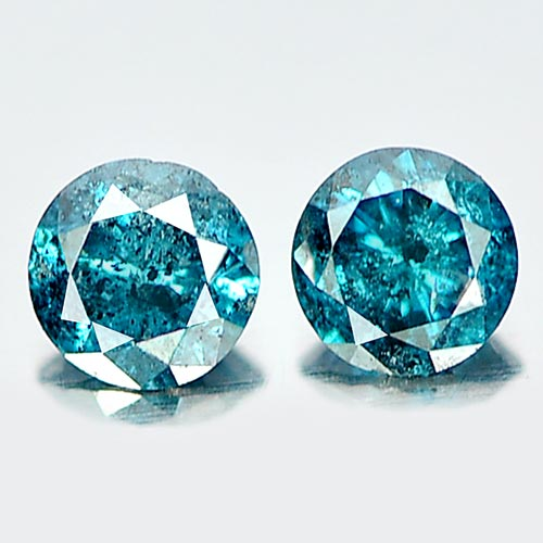0.15 Ct. 2 Pcs. Charming Round Brilliant Cut Natural Blue Loose Diamond