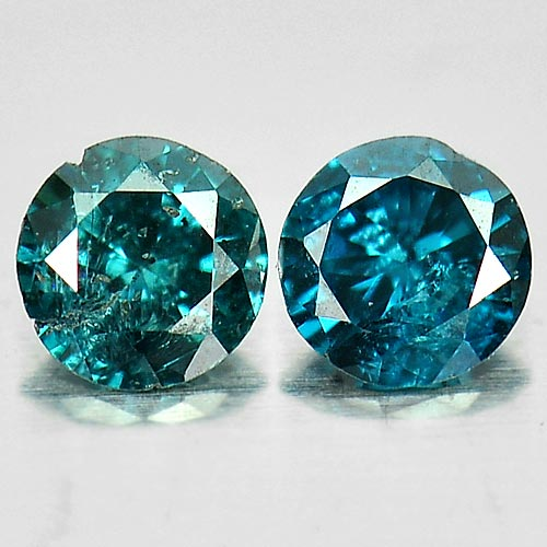 0.13 Ct. 2 Pcs. Round Brilliant Cut Natural Blue Loose Diamond Belgium