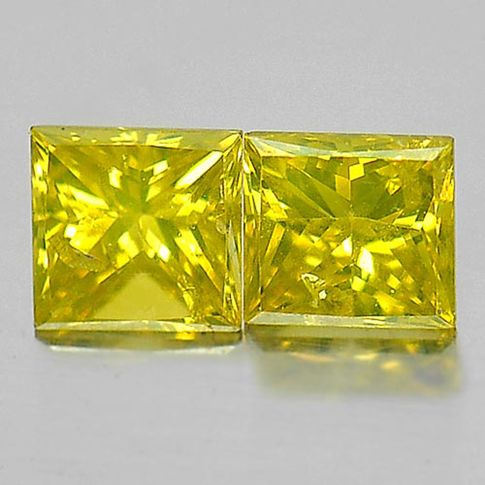 0.29 Ct. 2 Pcs. Baguette Princess Cut Natural Yellow Loose Diamond