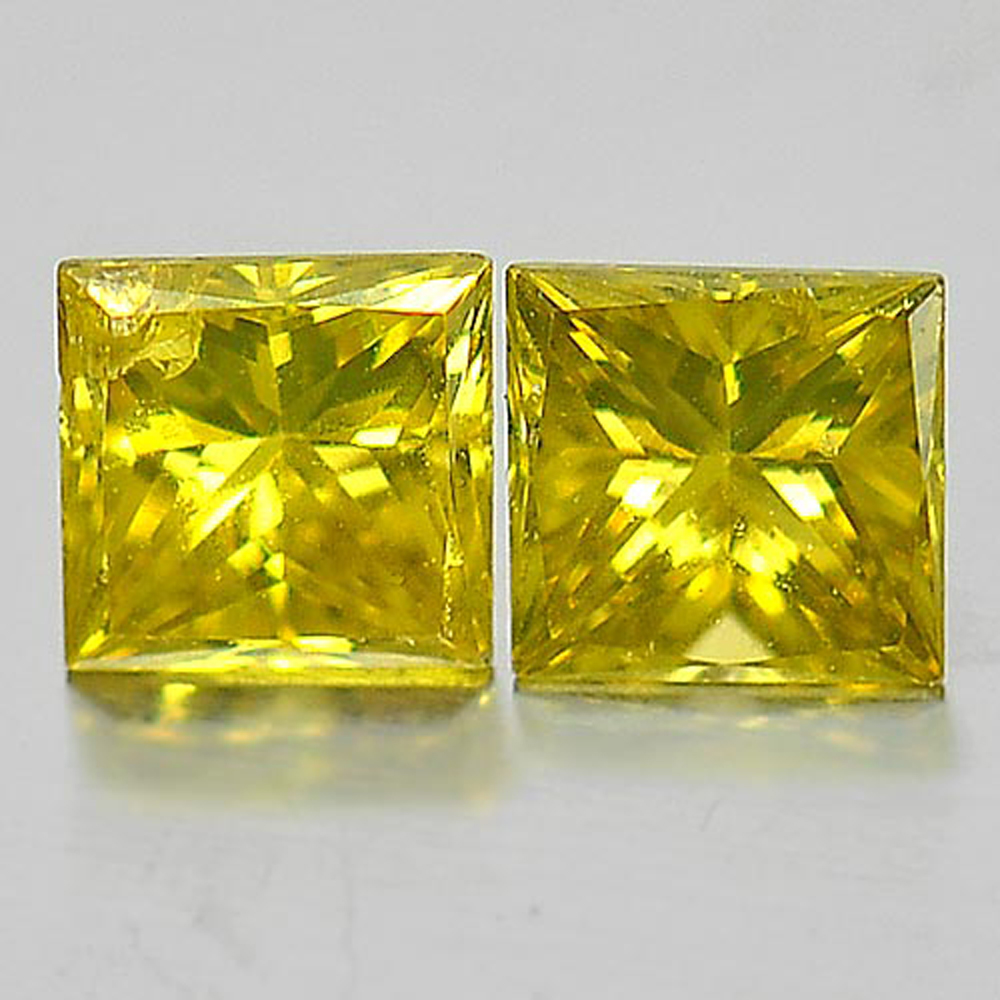 0.27 Ct. 2 Pcs. Nice Natural Yellow Loose Diamond Baguette Princess Cut