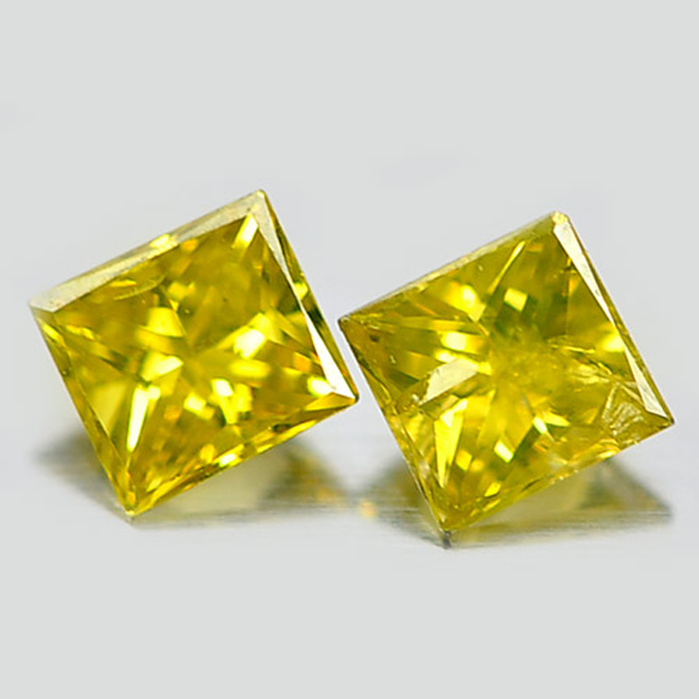 0.22 Ct. 2 Pcs. Alluring Natural Yellow Loose Diamond Baguette Princess Cut