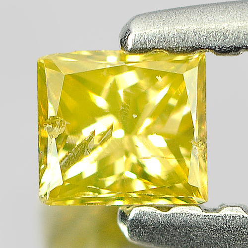 0.17 Ct. Good Natural Yellow Loose Diamond Baguette Princess Cut