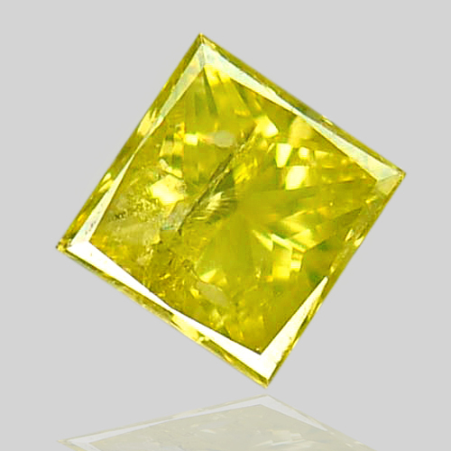 0.11 Ct. Natural Yellow Loose Diamond Baguette Princess Cut Belgium