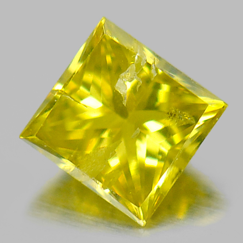 0.12 Ct. Alluring Baguette Princess Cut Natural Yellow Loose Diamond