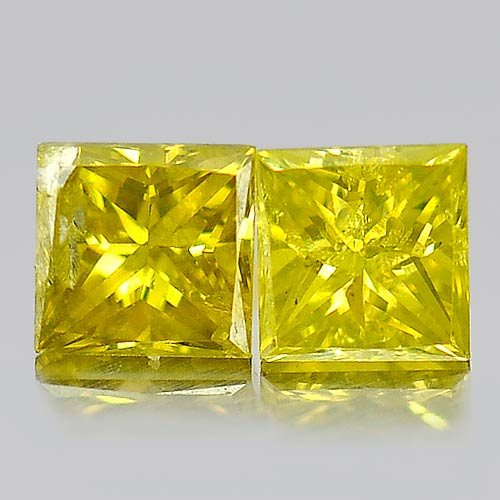 0.25 Ct. 2 Pcs. Attractive Natural Yellow Loose Diamond Baguette Princess Cut