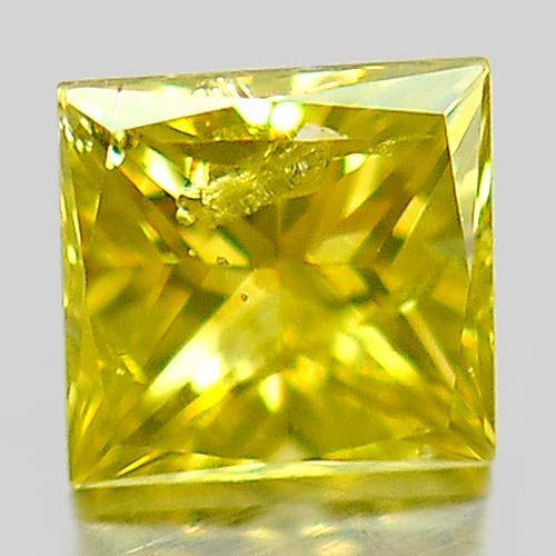 0.11 Ct. Delightful Natural Yellow Loose Diamond Baguette Princess Cut
