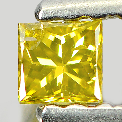 0.11 Ct. Beautiful Natural Yellow Loose Diamond Baguette Princess Cut