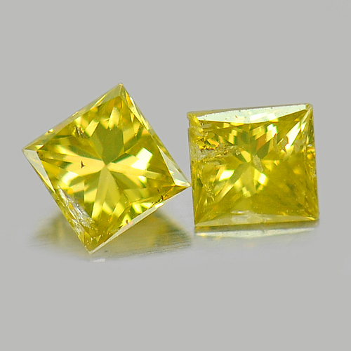 0.16 Ct. 2 Pcs. Baguette Princess Cut Natural Yellow Loose Diamond Belgium