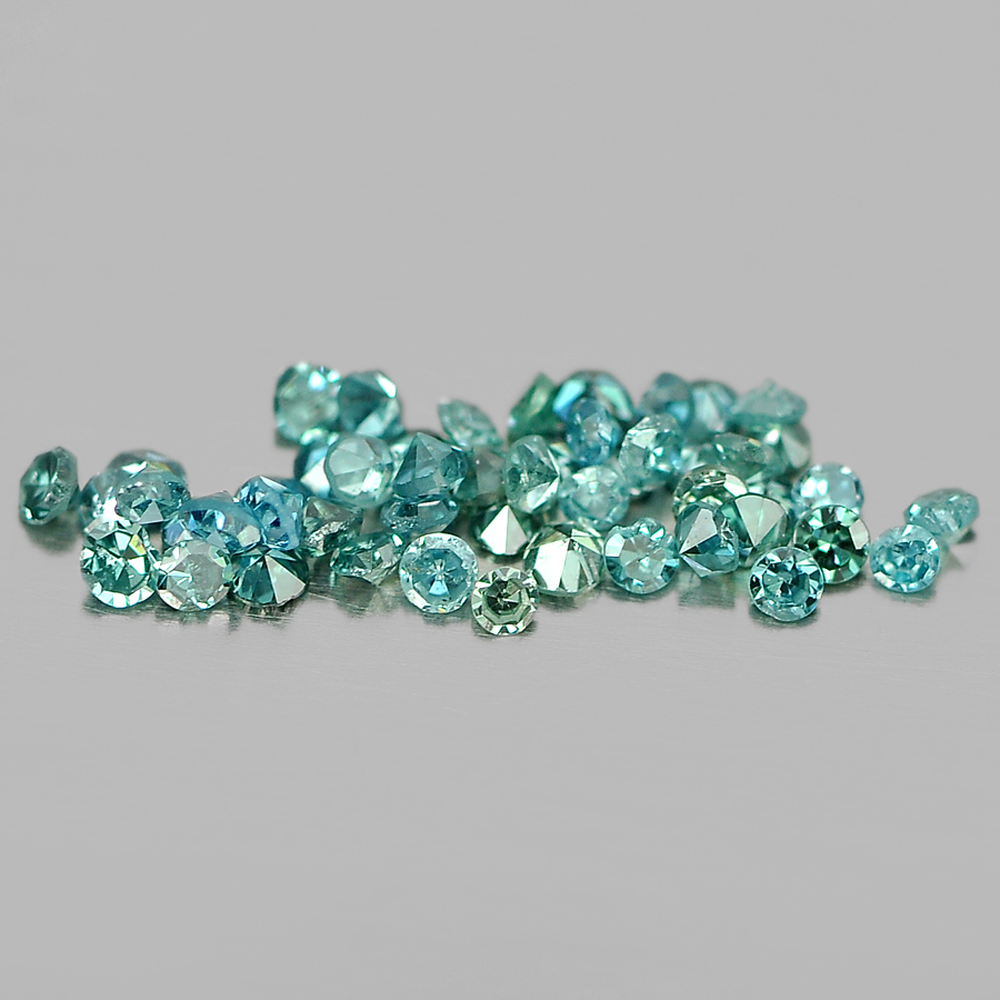 0.14 Ct. 50 Pcs. Round Brilliant Cut Size 0.8 Mm Natural Blue Loose Diamond