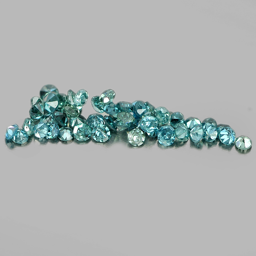 0.14 Ct. 50 Pcs. Nice Natural Blue Loose Diamond Round Brilliant Cut
